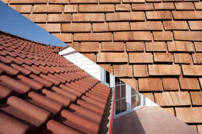 Wood and Tile roofing shingles.